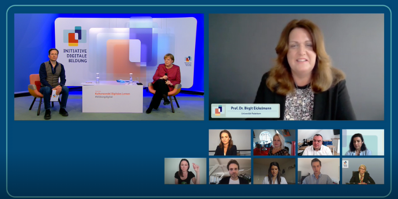 Screenshot of the online dialogue on digital learning with Angela Merkel and Prof. Dr. Birgit Eickelmann